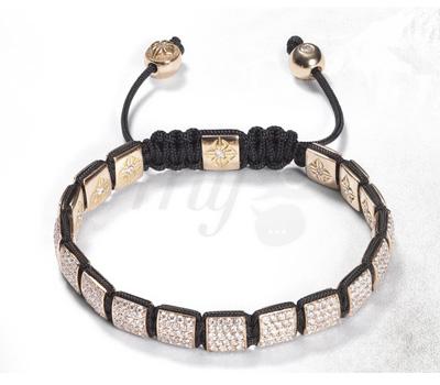 Bracelet Or Rose Carrés Diamants - Shamballa
