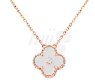 Collier Alhambra Or Rose Diamant Nacre - Van Cleef Arpels