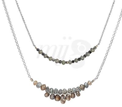 Collier Briolette et Duo Diamants Bruts - Perle de Lune