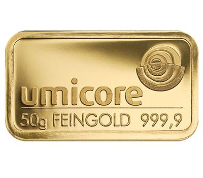 Lingotin en or de 50g de Umicore