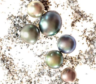 Perles de Tahiti de différentes formes et couleurs