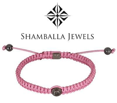Véritable bracelet Shamballa tressé rose