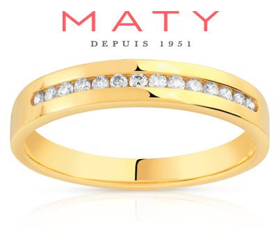 Alliance de mariage Maty en or jaune et diamants