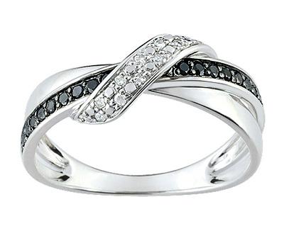 Alliance en diamants noirs et diamants blancs