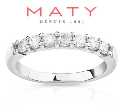 Alliance femme Maty en demi-tour platine et diamants
