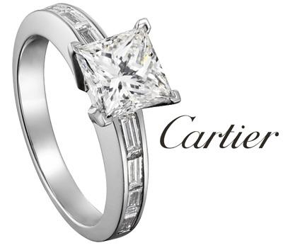 Bague solitaire avec un diamant princesse de Cartier