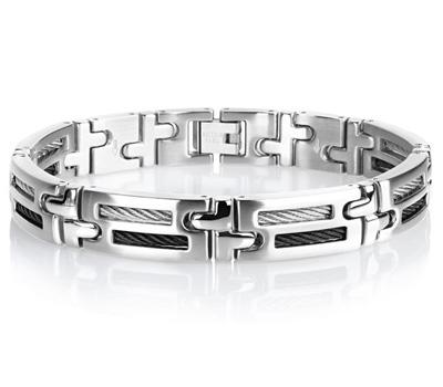 Bracelet homme Maty en acier et câbles