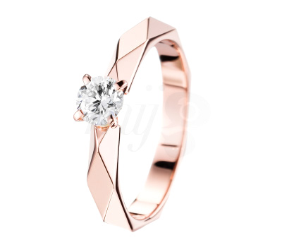 Solitaire Diamant Facette Or Rose - Boucheron