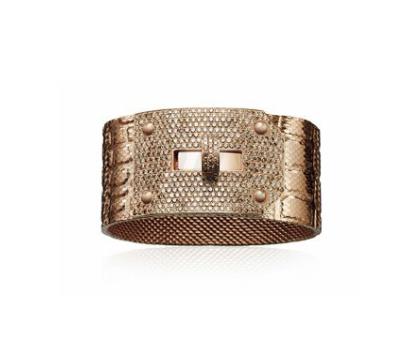 Manchette Hermès Or Rose Diamants Bruns Kelly
