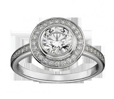 Bague de fiançailles tendance de Cartier avec diamants.