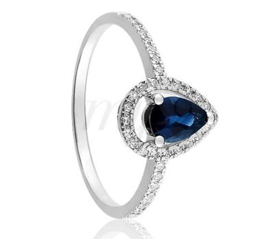Bague en or blanc, saphir bleu et diamants