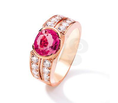 Bague en or rose, saphir rose et diamants