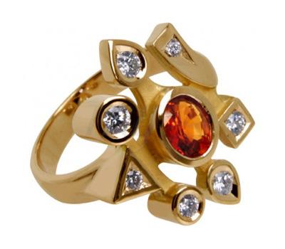 Bague saphir orange et diamants sur or jaune