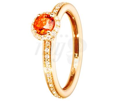 Bague saphir orange et diamants sur or rose
