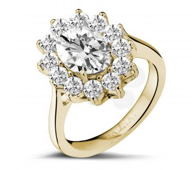 Bague marguerite en or jaune et diamants