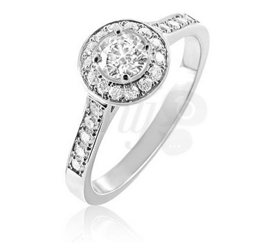 Bague solitaire diamants et or blanc