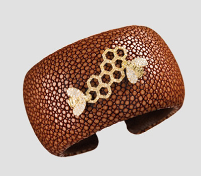 Bracelet galuchat abeilles orange de Malakine