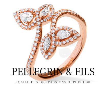 Bague Feuilles Or et Diamants - Pellegrin & Fils