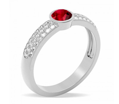 Bague rubis diamants 1.01 carat or Edendiam