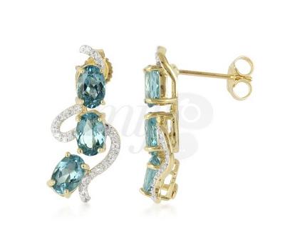 Boucles d'Oreilles Or, Diamants et Apatites - Juwelo