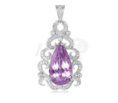 Pendentif Or, Diamants et Kunzite - Juwelo