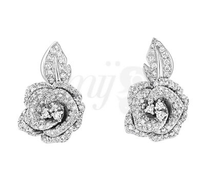 Boucles d'Oreilles Rose Dior Bagatelle Diamants