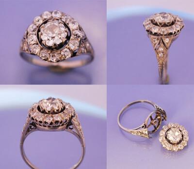 Bague platine et diamants à nettoyer