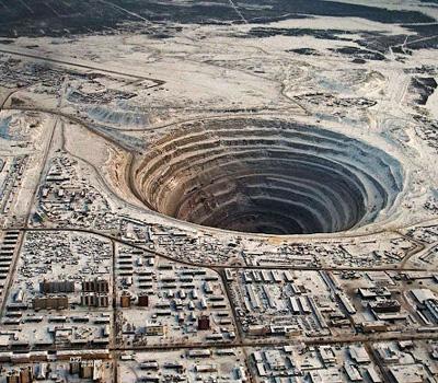 Mine de production de diamants