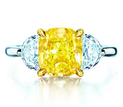 Bague solitaire en diamant jaune