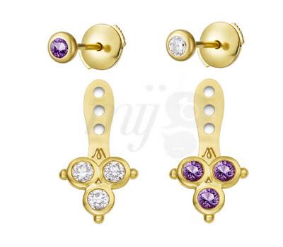 Boucles d'oreilles Delta - Aimée Aimer Diamants et Amethystes